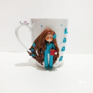 Casual Girl Mug - Blue