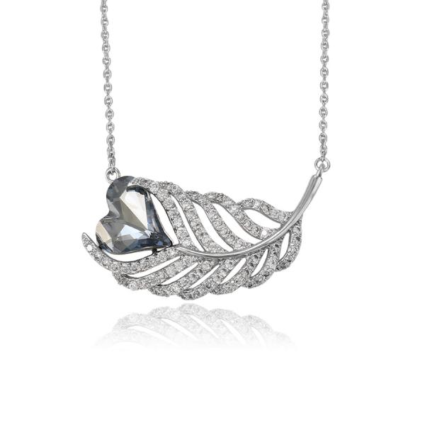 Swarovski Encrusted Heart Leaf Necklace-Silver