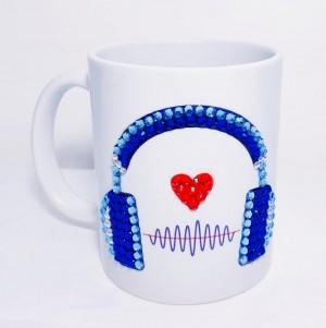Crystals Encrusted Mug - Heart Headphone