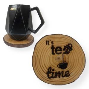 """""""Tea Time"""" Engraved Tree Slice Coaster"""