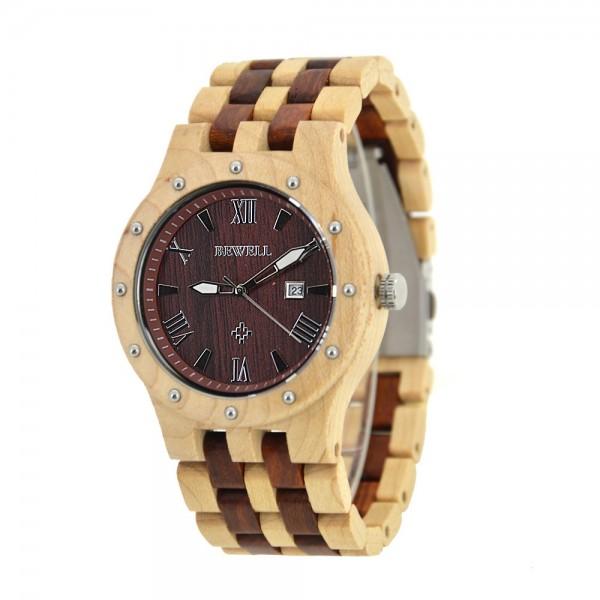 Men's Natural Wood Watch - Brown & Beige