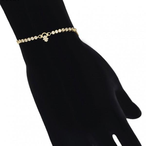 Gold Plated Hamsa Hand Bracelet