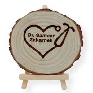 Stethoscope Engraved Tree Slice