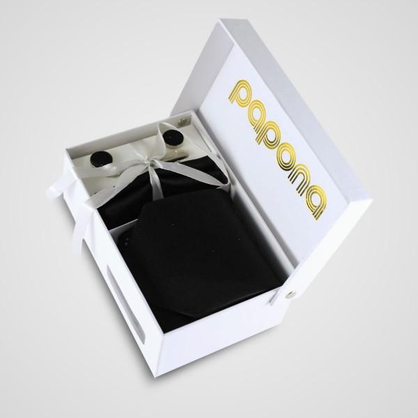 papona Striped Necktie Set - Black
