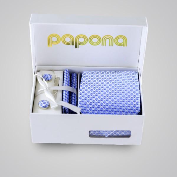 papona Checkered Necktie Set - Light Blue