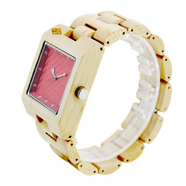 Men's Natural Wood Watch - Beige & Red