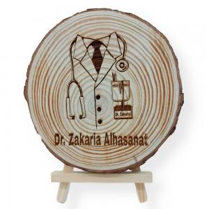 Doctor Engraved Tree Slice
