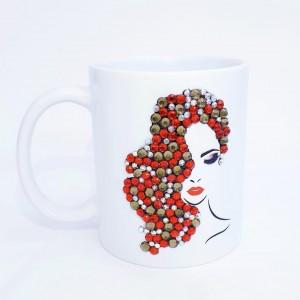 Crystals Encrusted Mug - Beauty Lady