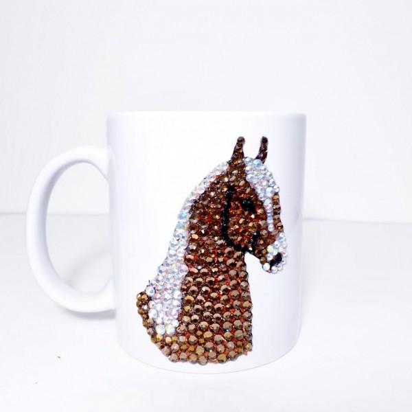 Crystals Encrusted Mug - ٌHorse