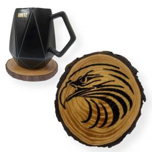 Falcon Engraved Tree Slice Coaster