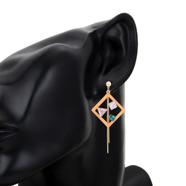 Mutlicolored Crystal Earrings - Light Orange