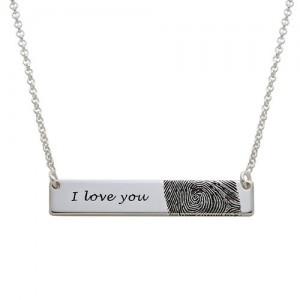 Silver Plated Fingerprint Bar Necklace