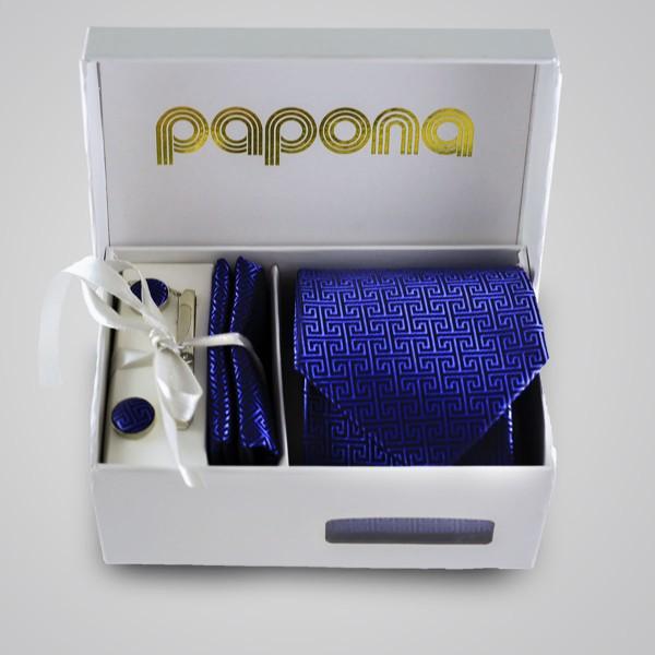 papona Checkered Necktie Set - Dark Blue
