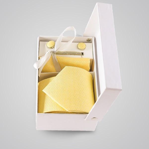 papona Checkered Necktie Set - Yellow