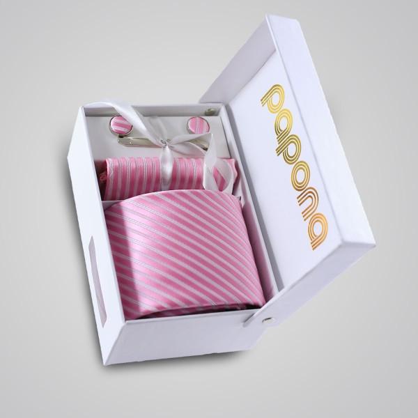 papona Striped Necktie Set - Pink