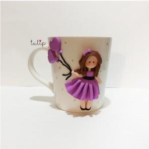 Balloon Girl Mug - Purple