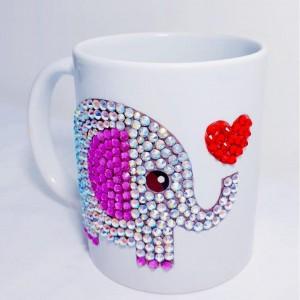 Crystals Encrusted Mug - Lovely Elephant