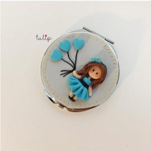 Balloon Girl Pocket Mirror - Blue