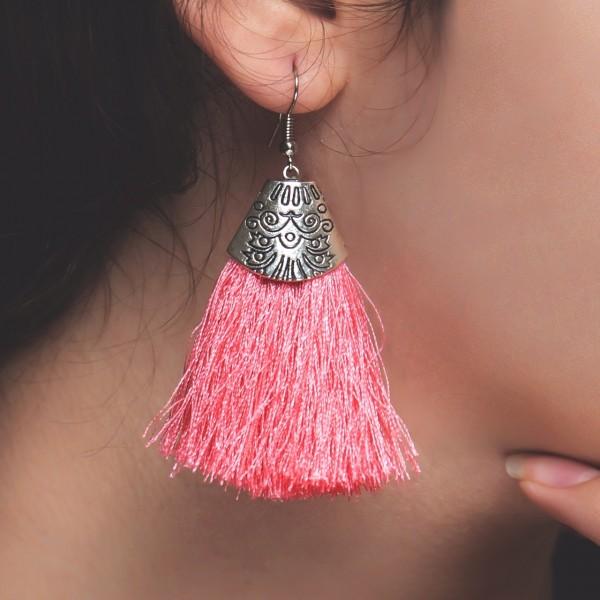 Handmade Tassel Earrings-Pink