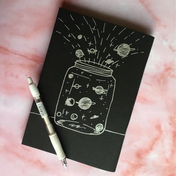 Universe Notebook - Black Blank