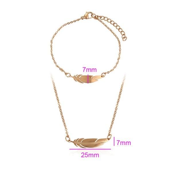 Feather Necklace & Bracelet Set