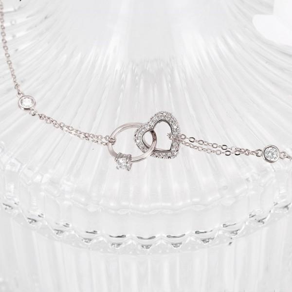Rhodium Plated Heart & Ring Bracelet