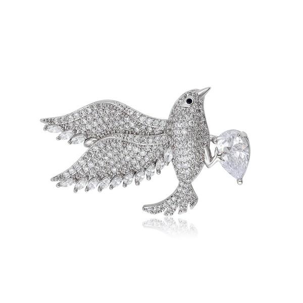Rhodium Plated Seagull Brooch