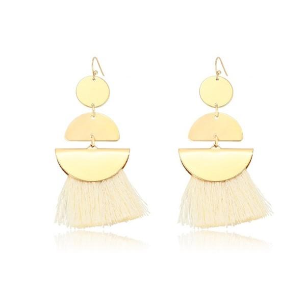 Gold Plated Tassel Earrings - White