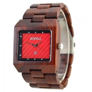 Men's Natural Wood Watch - Brown & Red