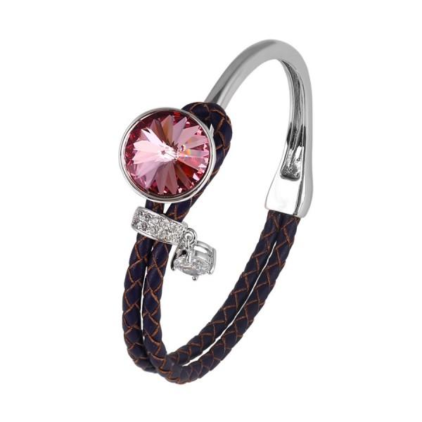 Charms Braided Cuff Bangle-Purple