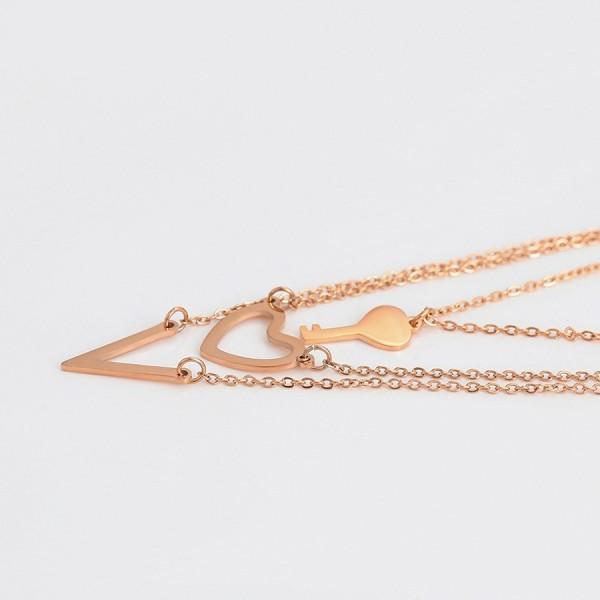 Heart Key Necklace & Earrings Set - Rose Gold