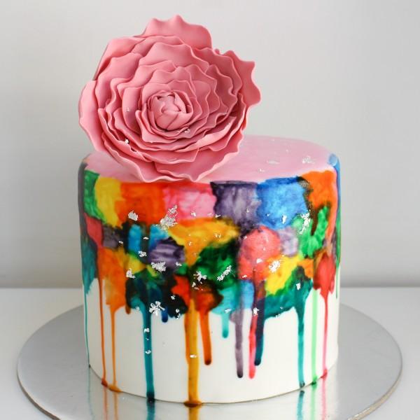 Watercolor Multicolor with Edible Silver Cake