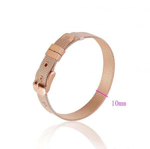 Stainless Steel Mesh Belt Bracelet - Rose Gold