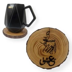 """Coffee Love"" Engraved Tree Slice Coaster"