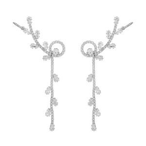 Crystal Tree Earrings - Silver
