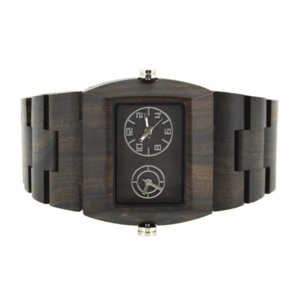 Men's Natural Wood Dual Time Watch - Black