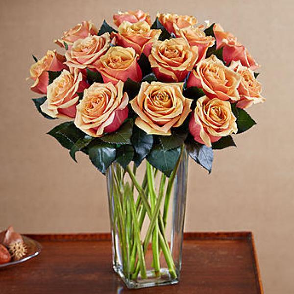 Orange Roses in a Vase