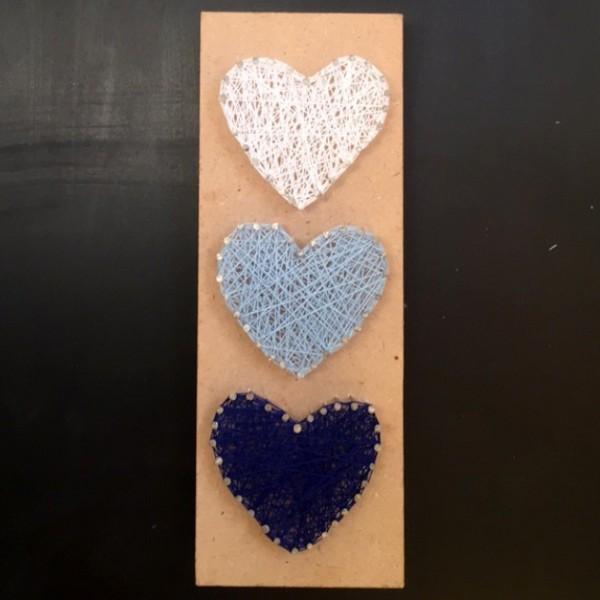 3 Hearts Wall Art-Dark & Sky Blue