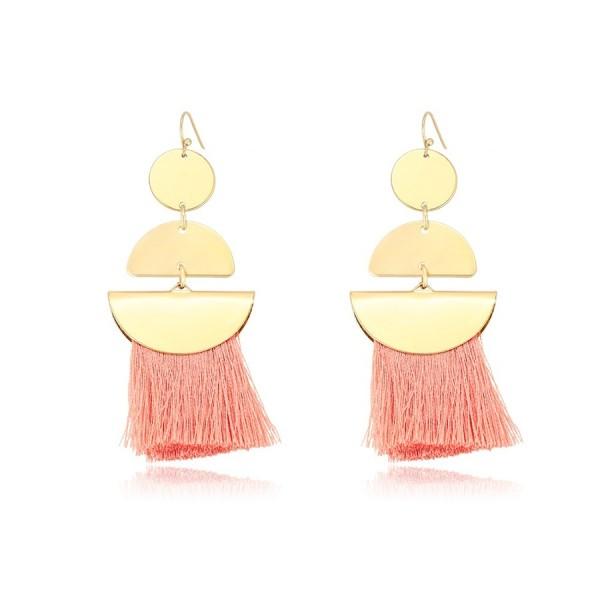 Gold Plated Tassel Earrings - Pink