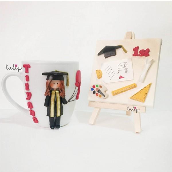 Graduated Girl Set of Mug & Canvas Art