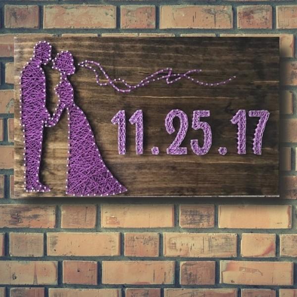 Customizable Handmade Wedding Wall Art - Purple