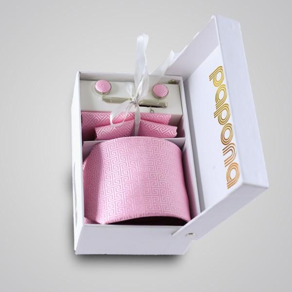 papona Checkered Necktie Set - Pink