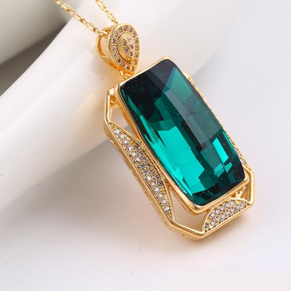 Rectangular Crystal Pendant-Jade Green