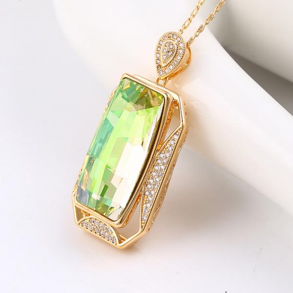 Rectangular Crystal Pendant-Mint Green