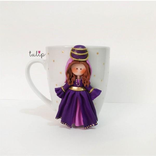Set of Circassian Style Mugs - Purple & Green