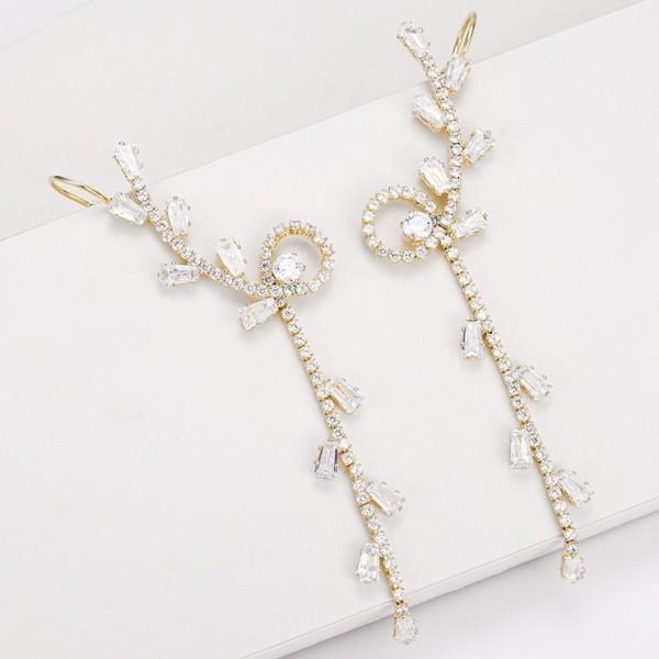 Crystal Tree Earrings - Gold