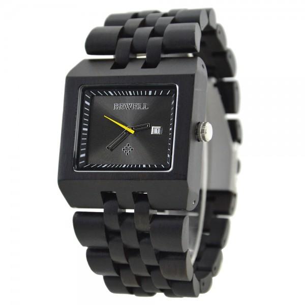 Men's Natural Wood Watch - Black