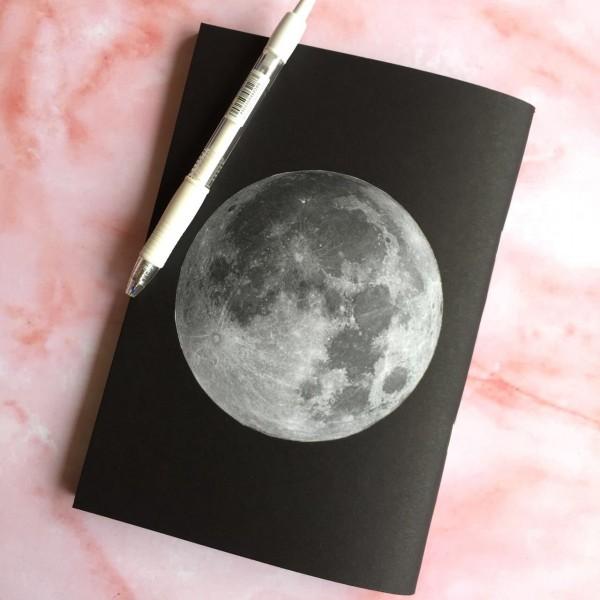 Moon Notebook - Black Blank