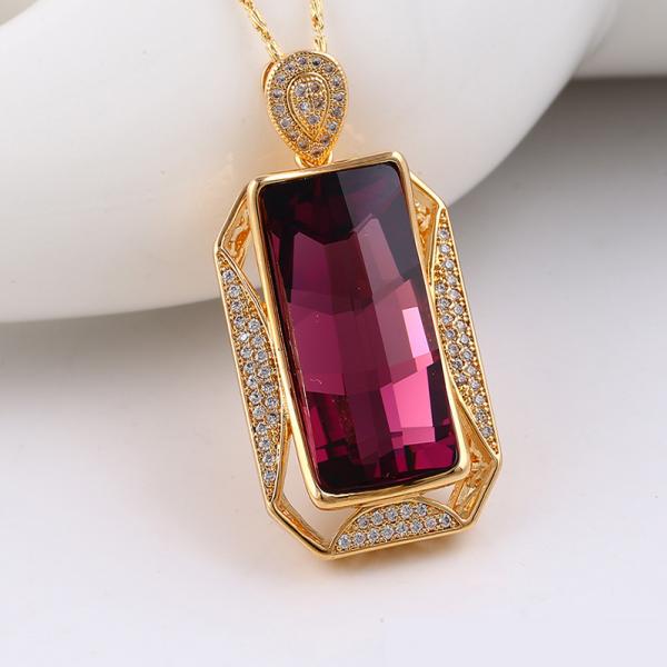 Rectangular Crystal Pendant-Purple