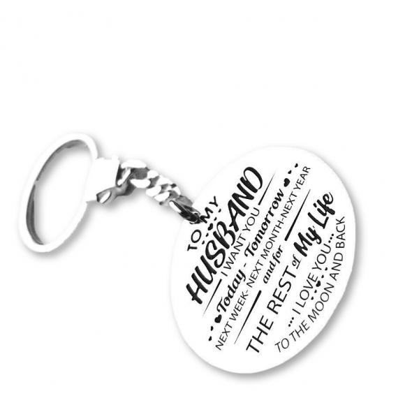 """To My Husband"" Silver Keychain"